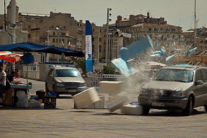 The Transporter - car driving through market - smashing things