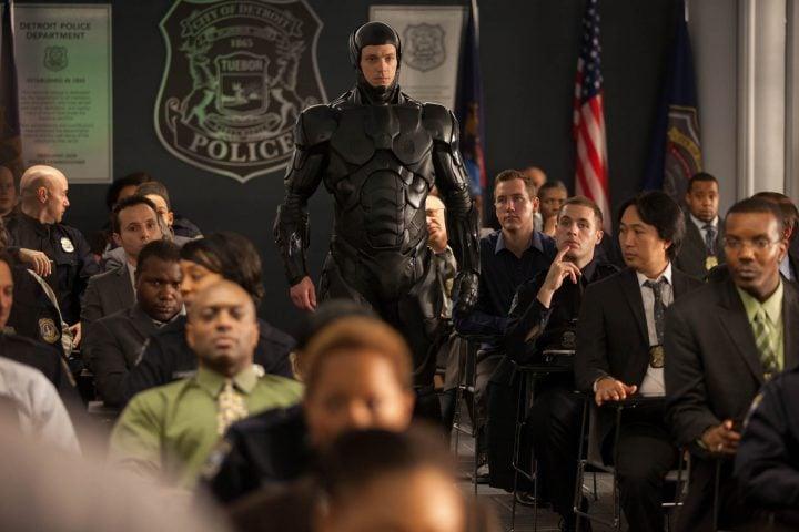 Joel Kinnaman as Robocop - walking into room